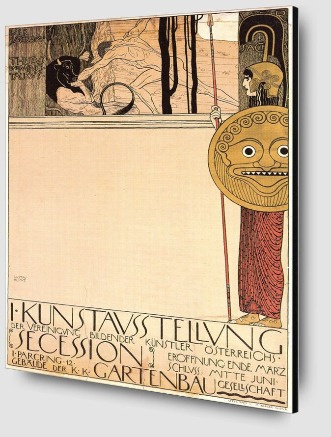 Poster for the First Art Exhibition of the Secession Art Movement, 1898 - Gustav Klimt from AUX BEAUX-ARTS Zoom Alu Dibond Image