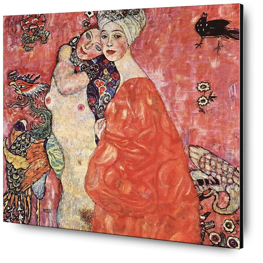 Les Petites Amies - Gustav Klimt de AUX BEAUX-ARTS, Prodi Art, KLIMT, femmes, oiseau, rose, nature, nu, copines