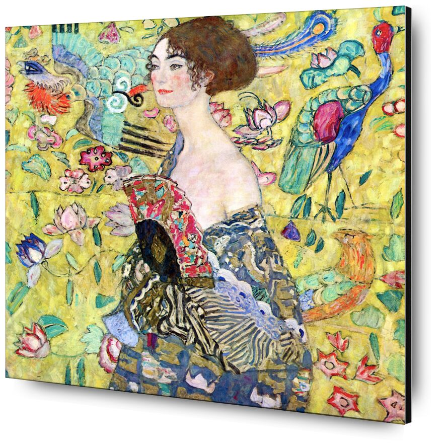 Lady with a Fan - Gustav Klimt from AUX BEAUX-ARTS, Prodi Art, KLIMT, lady, woman, range, painting, birds, yellow