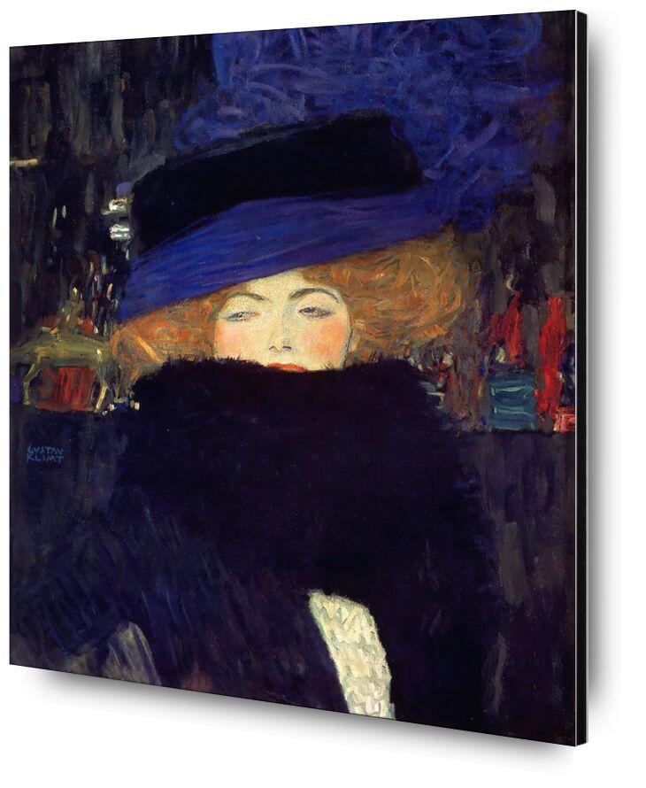 Lady with a Hat and a Feather Boa - Gustav Klimt desde AUX BEAUX-ARTS, Prodi Art, KLIMT, mujer, abrigo, plumas, pelirrojo, ciudad, noche