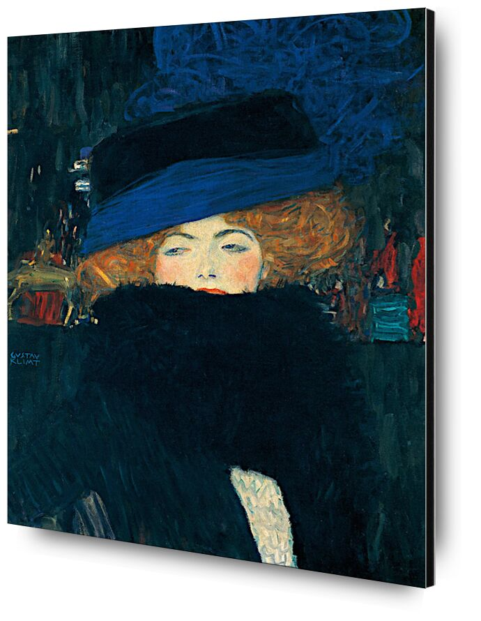 Lady with a Hat and a Feather Boa - Gustav Klimt from AUX BEAUX-ARTS, Prodi Art, night, city, redhead, feathers, coat, woman, KLIMT