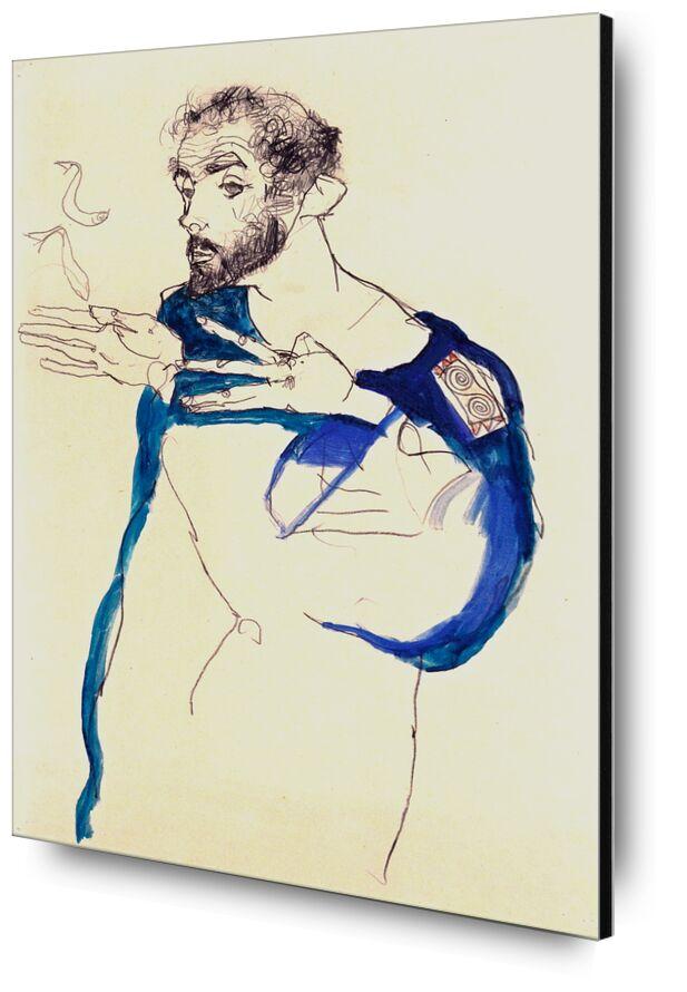 Le peintre Gustav Klimt dans Sa Blouse de Peintre Bleue, 1913 - Gustav Klimt de AUX BEAUX-ARTS, Prodi Art, cigarette, fumée, dessin, autoportrait, peinture, peintre, KLIMT