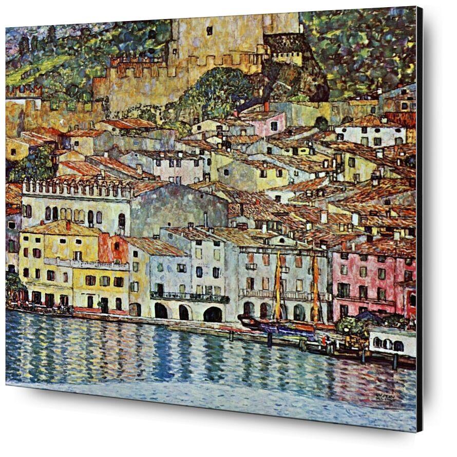 Malcena à la Gardasee, 1907 - Gustav Klimt de AUX BEAUX-ARTS, Prodi Art, KLIMT, ville, village, peinture, Lac, Port, bateau