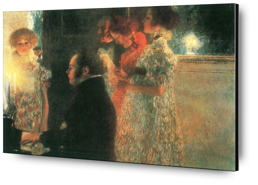 Schubert au Piano - Gustav Klimt de AUX BEAUX-ARTS, Prodi Art, KLIMT, musique, femme, peinture, plan