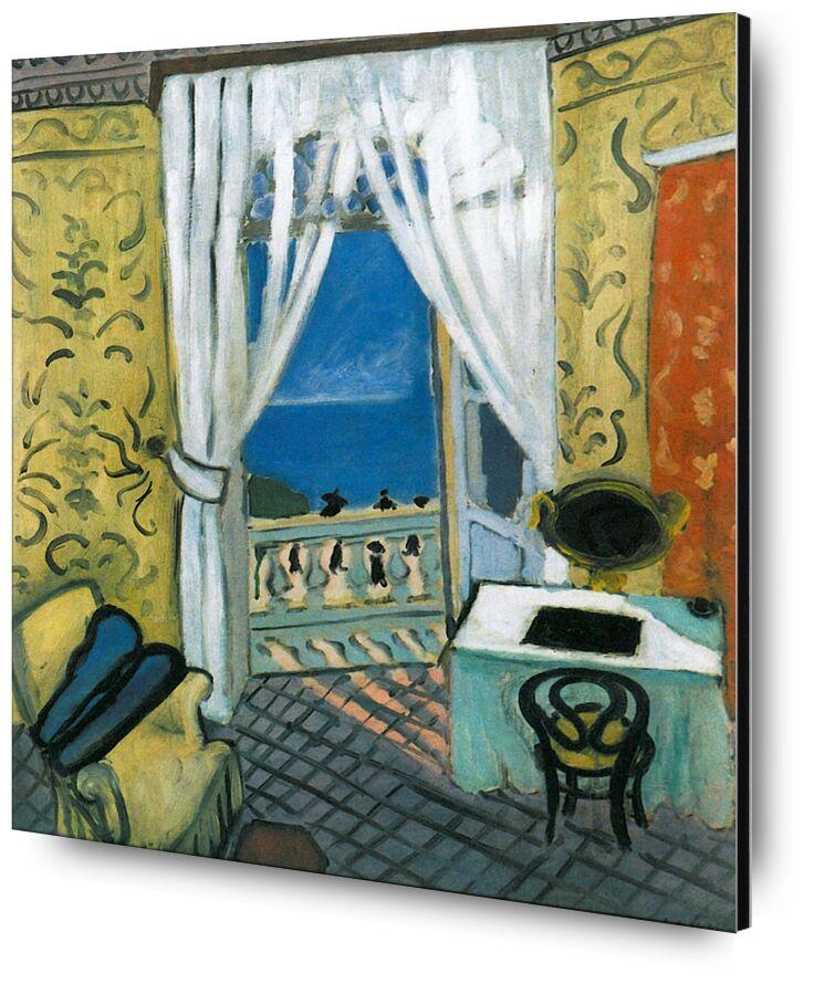 Still Life with Violin Case - Henri Matisse desde AUX BEAUX-ARTS, Prodi Art, Matisse, violín, música, mar, ventana, sala