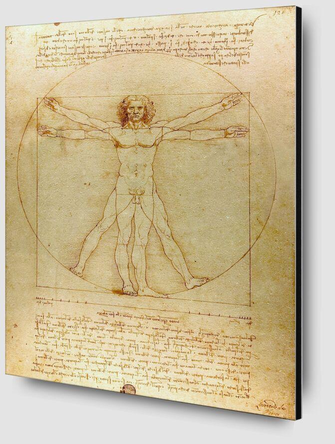 Homme de Vitruve - Léonard de Vinci de AUX BEAUX-ARTS Zoom Alu Dibond Image