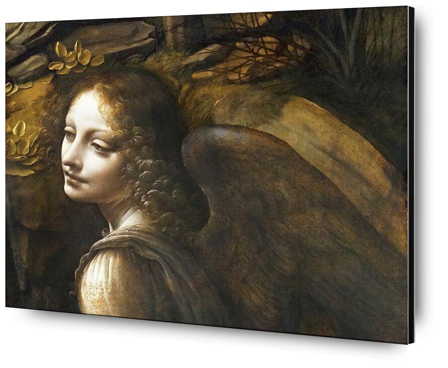 Details of The Angel, The Virgin of the Rocks - Leonardo da Vinci from AUX BEAUX-ARTS, Prodi Art, Leonard de Vinci, ange, painting, portrait, wings, woman, curly