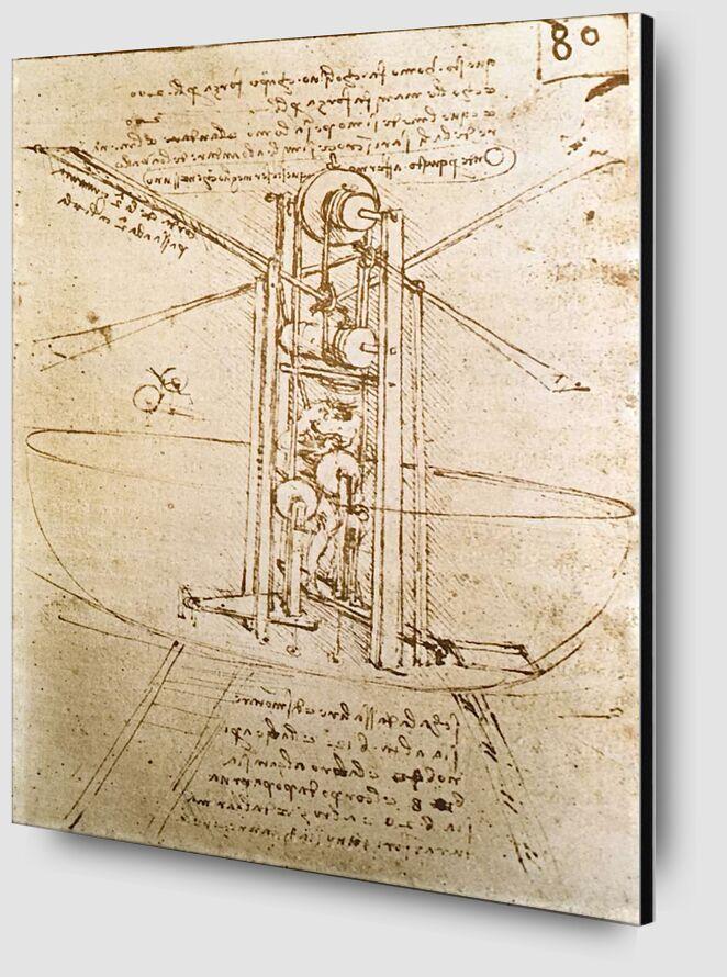 Machine Volante à Ailes d'Oiseaux en Position Verticale - Leonardo da Vinci de AUX BEAUX-ARTS Zoom Alu Dibond Image