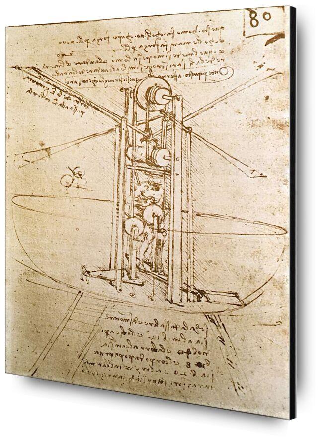 Vertically Standing Bird's-Winged Flying Machine - Leonardo da Vinci from AUX BEAUX-ARTS, Prodi Art, diagram, Leonardo da Vinci, aircraft, sketch, pencil drawing