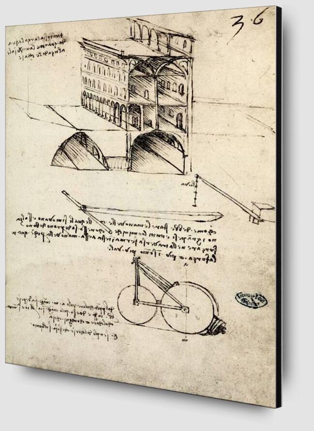 La Cité Idéale, Vue d'un Bâtiment, Logé à l'Institut De France, Paris - Léonard de Vinci de AUX BEAUX-ARTS Zoom Alu Dibond Image