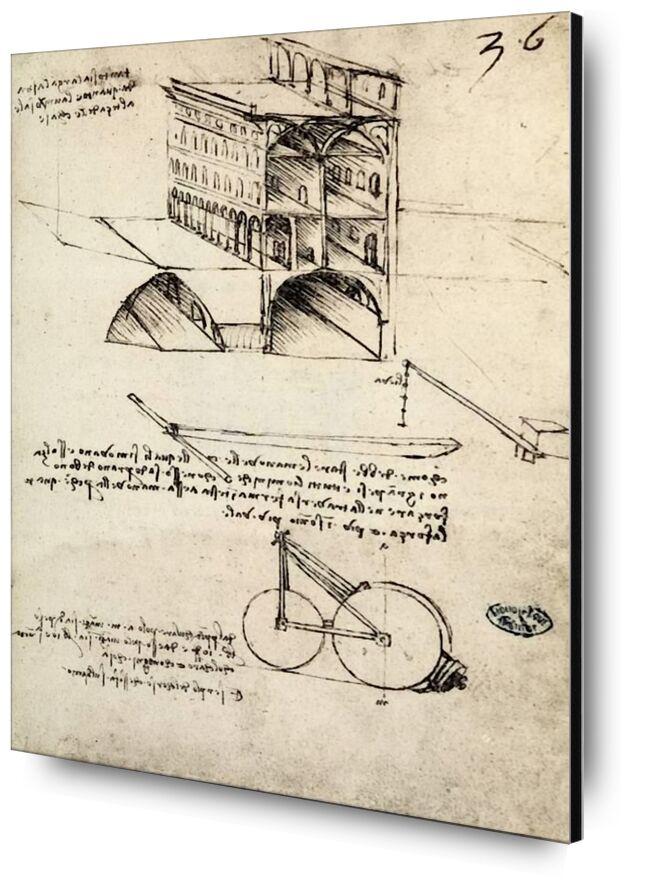 The Ideal City, View of a Building, Housed at the Institut De France, Paris - Leonard da Vinci from AUX BEAUX-ARTS, Prodi Art, epidemic, city, pencil drawing, drawing, Leonardo da Vinci