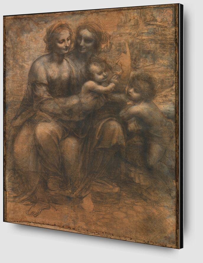 Sainte Anne, la Vierge, l'Enfant Jésus et saint Jean-Baptiste enfant - Léonard de Vinci de AUX BEAUX-ARTS Zoom Alu Dibond Image