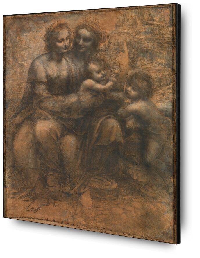 The Virgin and Child with Saint Anne and Saint John the Baptist - Leonardo da Vinci desde AUX BEAUX-ARTS, Prodi Art, Sain Jean, bosquejo, Jesús, lápiz, dibujo, Leonardo da Vinci