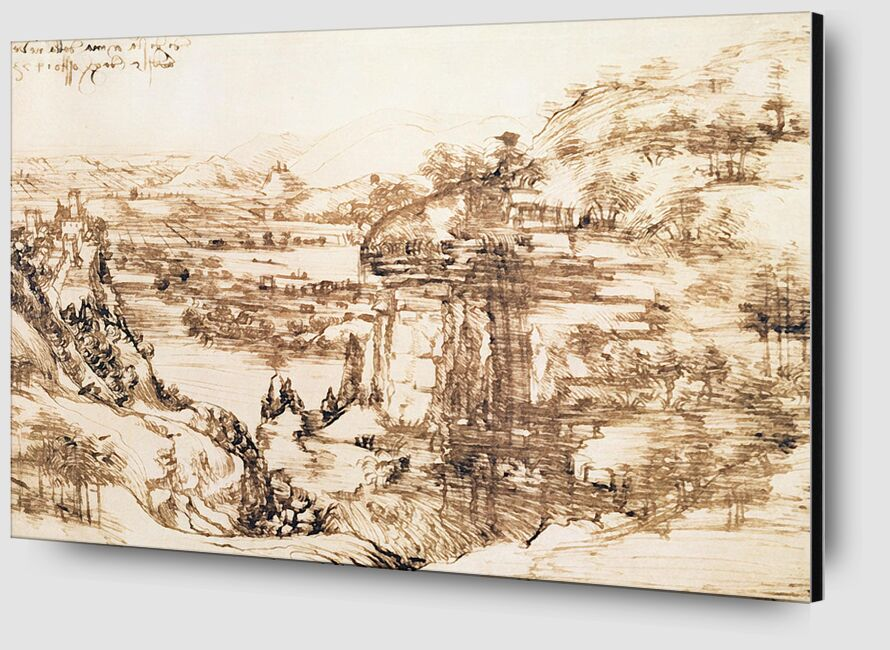 Paysage de la vallée de l'Arno - Léonard de Vinci, 1473 de AUX BEAUX-ARTS Zoom Alu Dibond Image