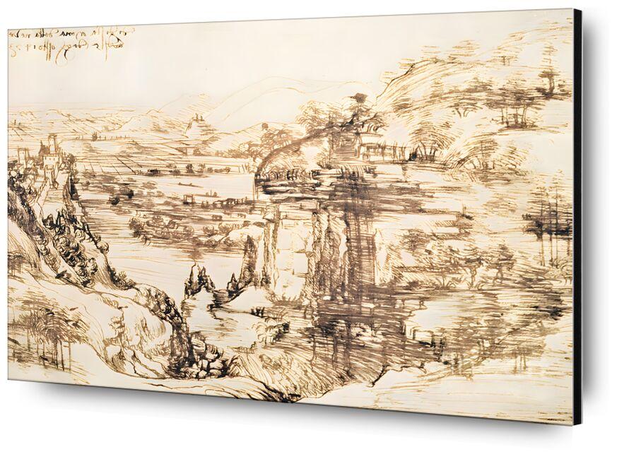 Arno Landscape - Leonardo da Vinci, 1473 from AUX BEAUX-ARTS, Prodi Art, pencil drawing, italy, landscape, Leonardo da Vinci