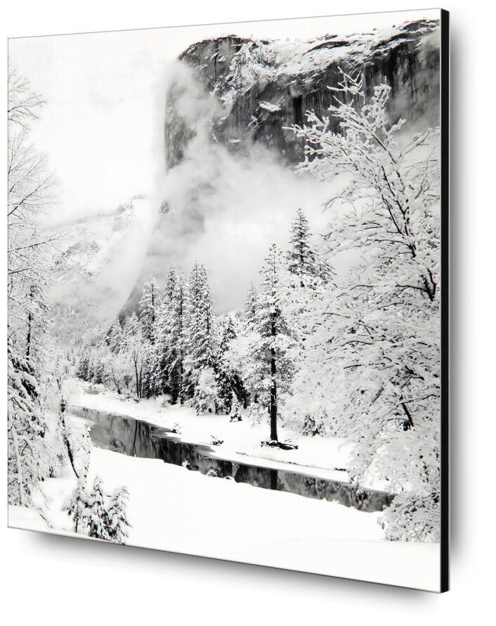 El Capitan, Série d'Hiver du Parc National de Yosemite, Californie - Ansel Adams de AUX BEAUX-ARTS, Prodi Art, ANSEL ADAMS, neige, hiver, montagnes, rivière, sapin, ski
