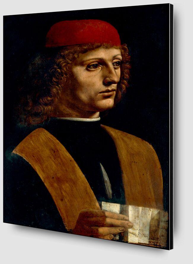 Portrait d'un musicien - Léonard de Vinci de AUX BEAUX-ARTS Zoom Alu Dibond Image