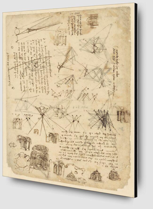 Codex de l'Atlantique - Léonard de Vinci de AUX BEAUX-ARTS Zoom Alu Dibond Image