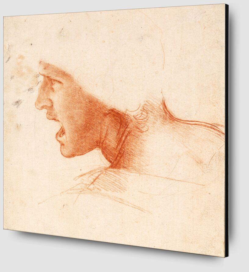 Étude recto pour la Tête d'un Soldat dans la Bataille d'Anghiari - Léonard de Vinci de AUX BEAUX-ARTS Zoom Alu Dibond Image