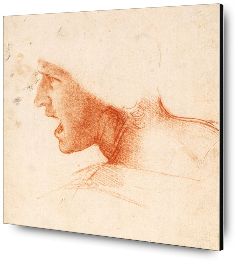 Étude recto pour la Tête d'un Soldat dans la Bataille d'Anghiari - Léonard de Vinci de AUX BEAUX-ARTS, Prodi Art, portrait, Leonard de Vinci, soldat, Guerre, crayon, dessin