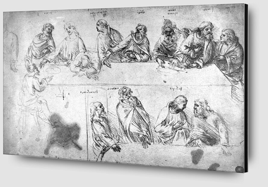 Preparatory Drawing For the Last Supper - Leonardo da Vinci from AUX BEAUX-ARTS Zoom Alu Dibond Image