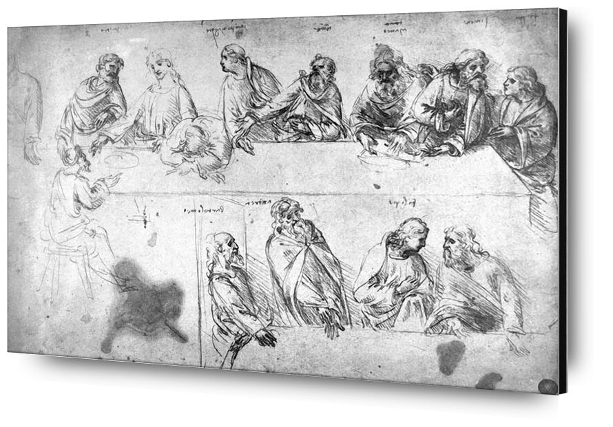 Preparatory Drawing For the Last Supper - Leonardo da Vinci from AUX BEAUX-ARTS, Prodi Art, the Lord's Supper, pencil, drawing, Leonard de Vinci, draft, the last supper