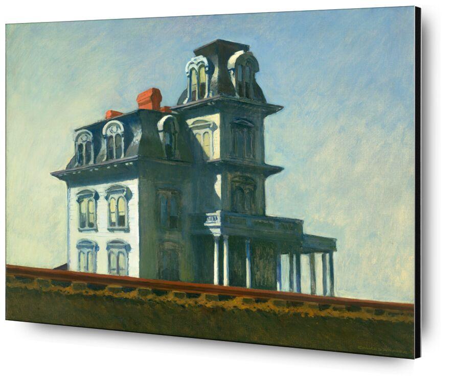 Casa Junto al Ferrocarril - Edward Hopper desde AUX BEAUX-ARTS, Prodi Art, casa, pintura, cielo, azul, ferrocarril, Edward Hopper