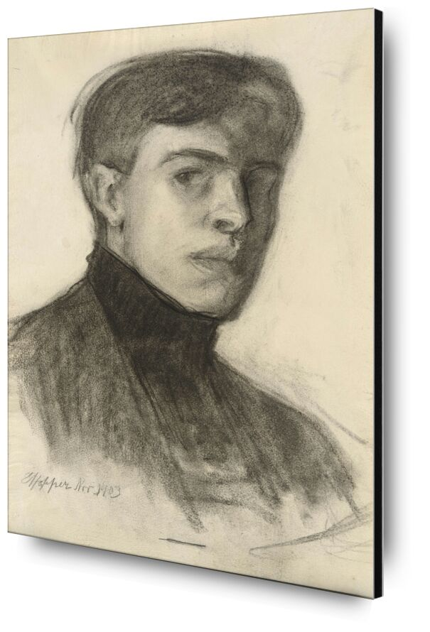 Edward Hopper Self-Portrait from AUX BEAUX-ARTS, Prodi Art, Edward Hopper, self-portrait, drawing, pencil