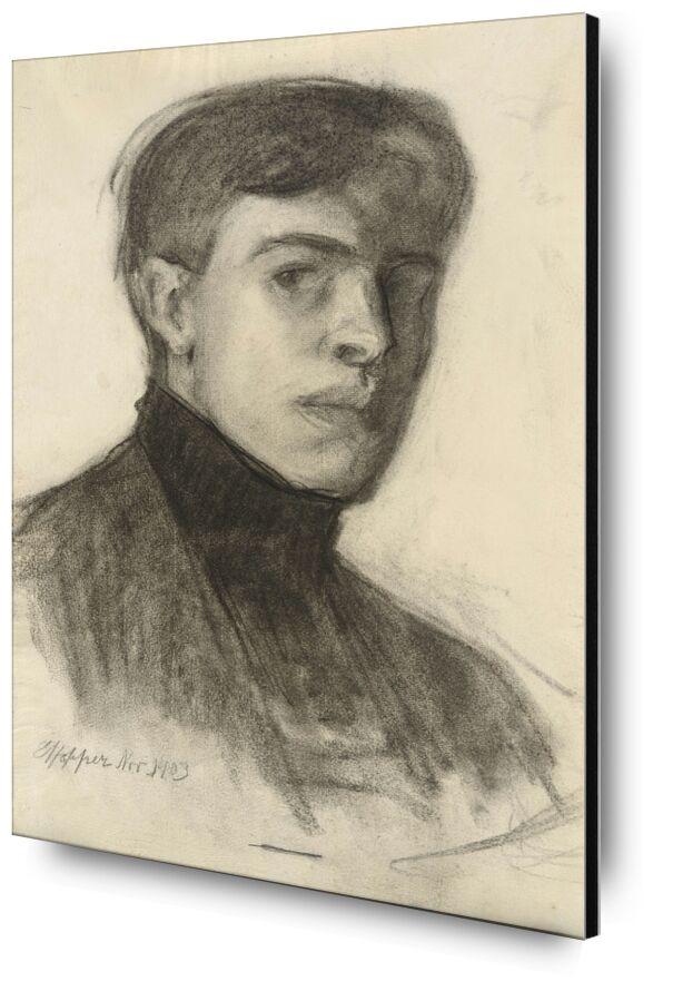 Autorretrato de Edward Hopper desde AUX BEAUX-ARTS, Prodi Art, Edward Hopper, autorretrato, dibujo, lápiz