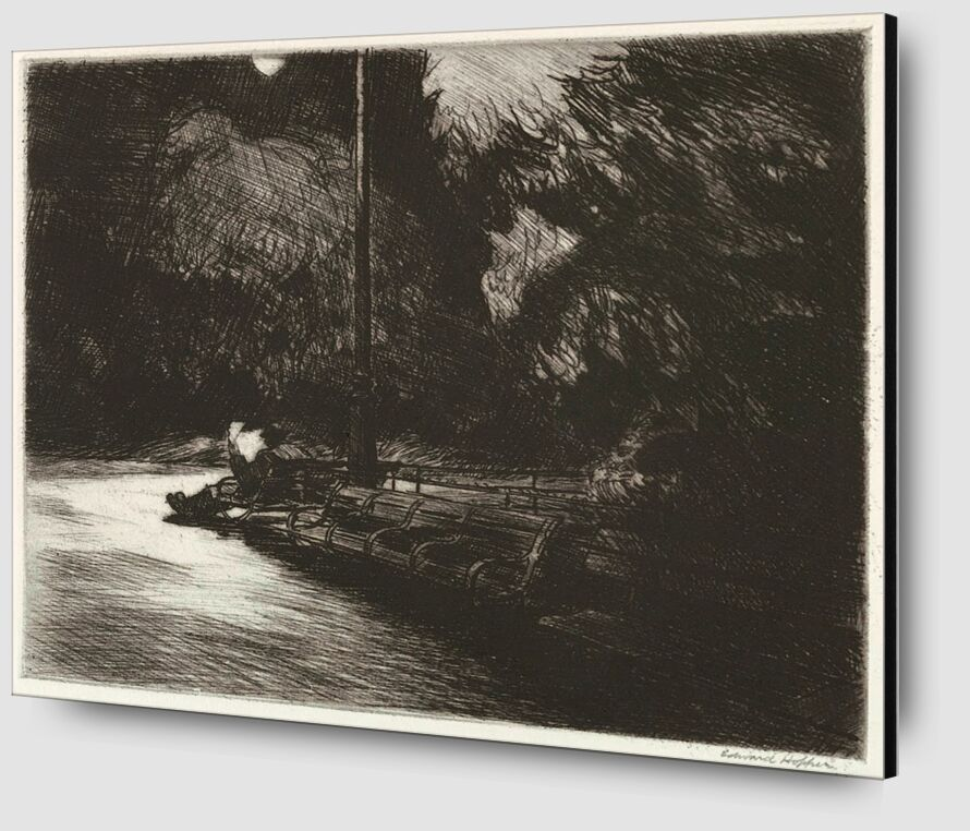 Night in the Park - Edward Hopper from AUX BEAUX-ARTS Zoom Alu Dibond Image
