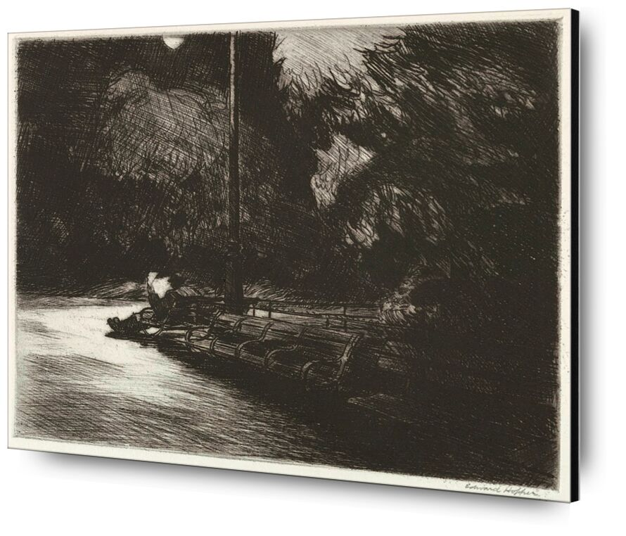 Noche en el Parque - Edward Hopper desde AUX BEAUX-ARTS, Prodi Art, Edward Hopper, noche, parque, leyendo, diario