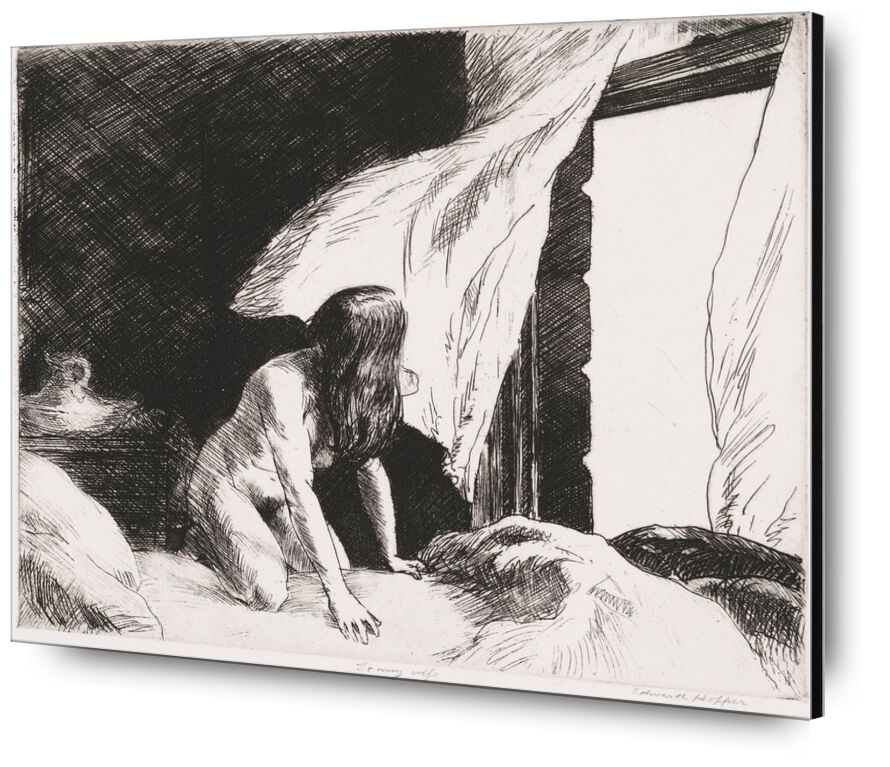 Evening Wind - Edward Hopper from AUX BEAUX-ARTS, Prodi Art, naked, woman, black-and-white, pencil, drawing, Edward Hopper, nude