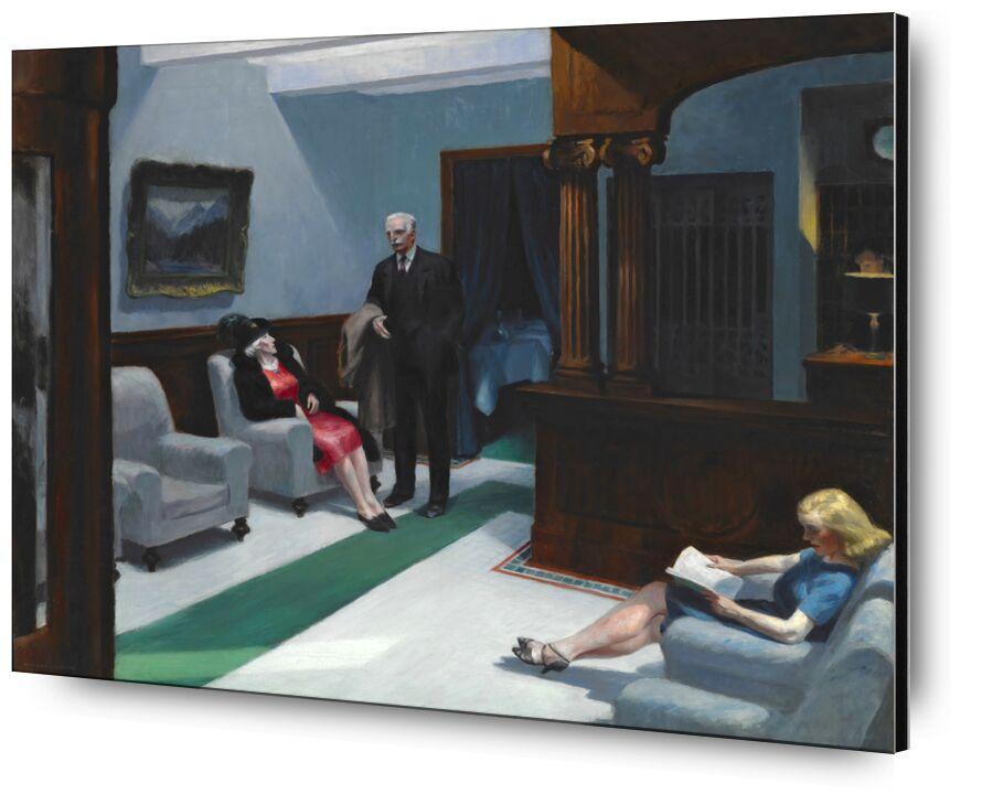 Hotel Lobby - Edward Hopper desde AUX BEAUX-ARTS, Prodi Art, Edward Hopper, Hotel, pintura, mujer, hombre, recepción