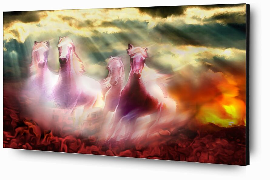 Descent of the horses from Adam da Silva, Prodi Art, bright, ray of sunshine, horses, red, clouds, cloud, sky, apocalypse, paradise