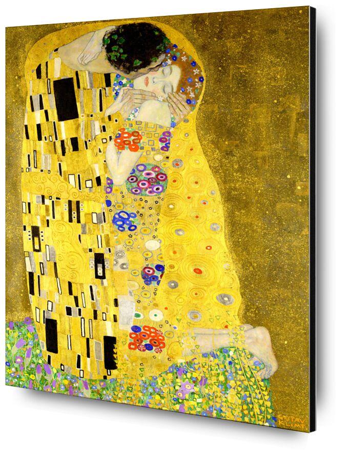 Details of the artwork The kiss - Gustav Klimt desde AUX BEAUX-ARTS, Prodi Art, KLIMT, art nouveau, Beso, hombre, mujer, Pareja, amor, vestido, pintura