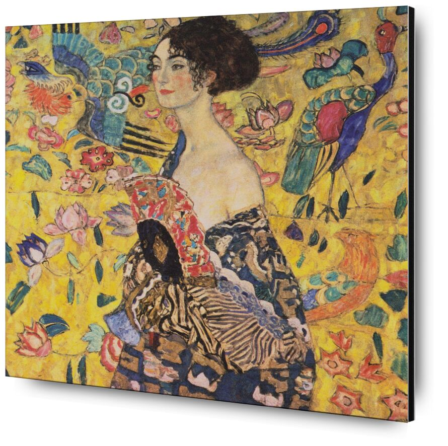 The Lady with a Fan - Gustav Klimt desde AUX BEAUX-ARTS, Prodi Art, alcance, retrato, cara, pintura, mujer, art nouveau, KLIMT