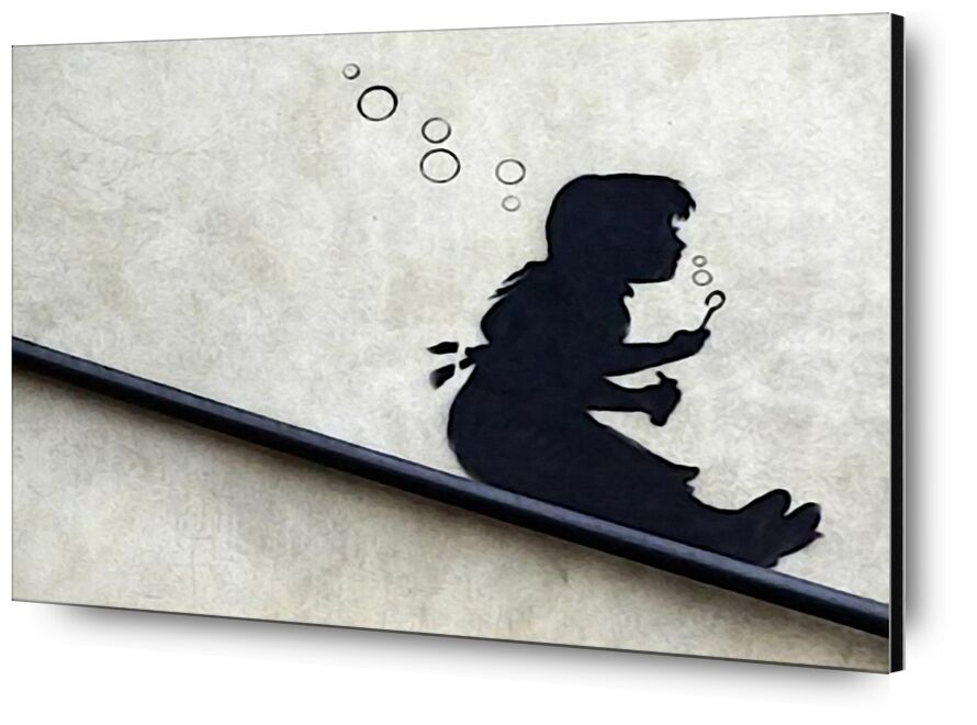 Bubble Girl - BANKSY from AUX BEAUX-ARTS, Prodi Art, banksy, street art, Bulles, girl, graffiti