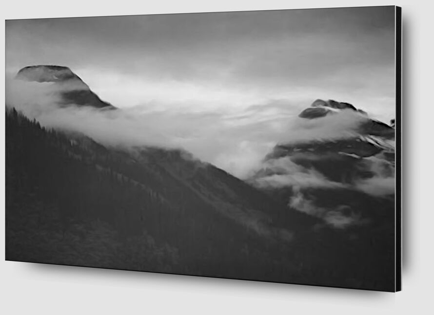 Mountain Partially Covered With Clouds - Ansel Adams desde AUX BEAUX-ARTS Zoom Alu Dibond Image