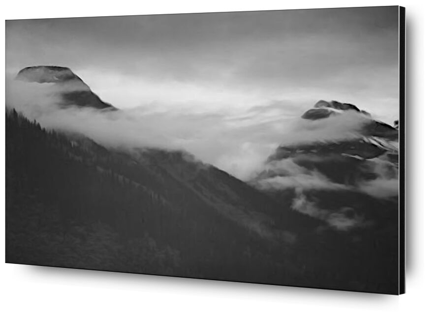 Mountain Partially Covered With Clouds - Ansel Adams desde AUX BEAUX-ARTS, Prodi Art, ANSEL ADAMS, montañas, blanco y negro, nieve, invierno