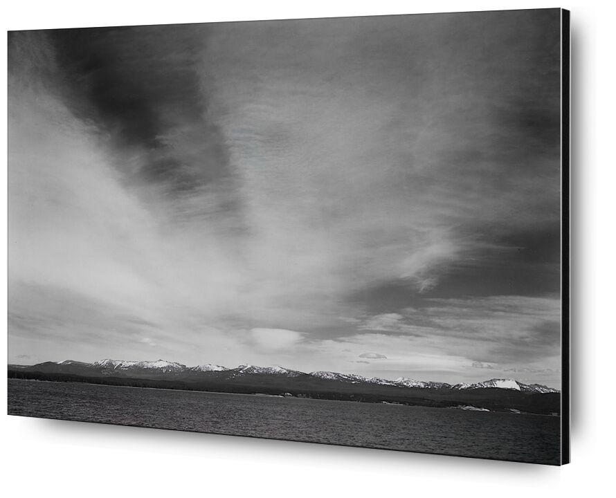"Wider Strip Of Mountains ""Yellowstone Lake"" - Ansel Adams from AUX BEAUX-ARTS, Prodi Art, ANSEL ADAMS, Yellowstone, mountains, sky, black-and-white"