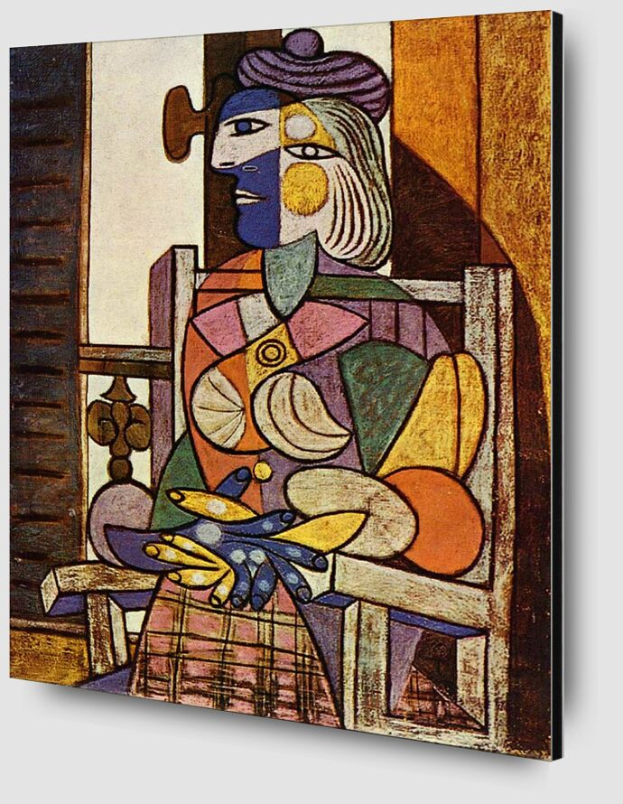 Woman Sitting in Front of The Window - Picasso desde AUX BEAUX-ARTS Zoom Alu Dibond Image