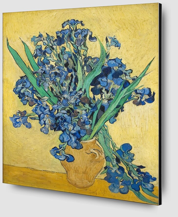 Vase of Irises Against a Yellow Background - Van Gogh from AUX BEAUX-ARTS Zoom Alu Dibond Image