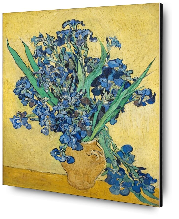 Vase of Irises Against a Yellow Background - Van Gogh from AUX BEAUX-ARTS, Prodi Art, Van gogh, painting, iris, vase, blue, yellow