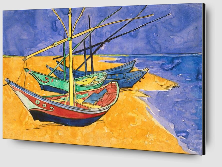 Boats on the Beach of Les-Saintes-Maries - Van Gogh from AUX BEAUX-ARTS Zoom Alu Dibond Image