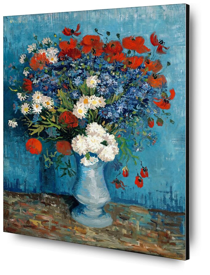 Still Life: Vase with Cornflowers and Poppies - Van Gogh from AUX BEAUX-ARTS, Prodi Art, Van gogh, still life, painting, poppies, blueberries