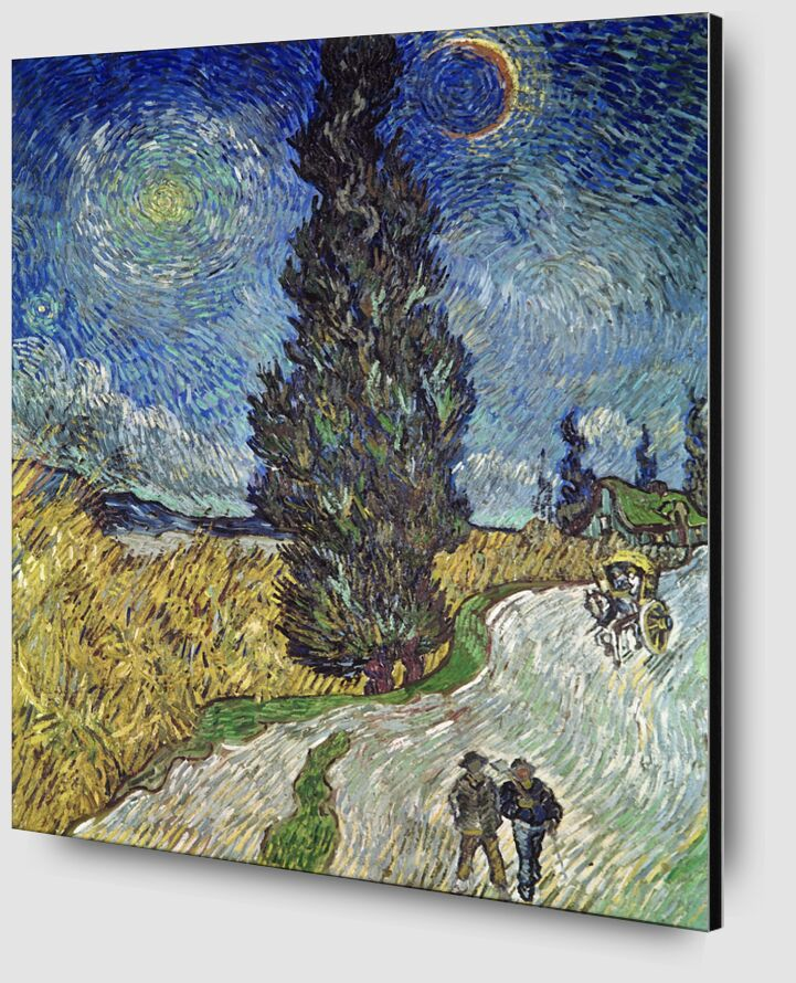 Country Road with Cypress and Star - Van Gogh from AUX BEAUX-ARTS Zoom Alu Dibond Image