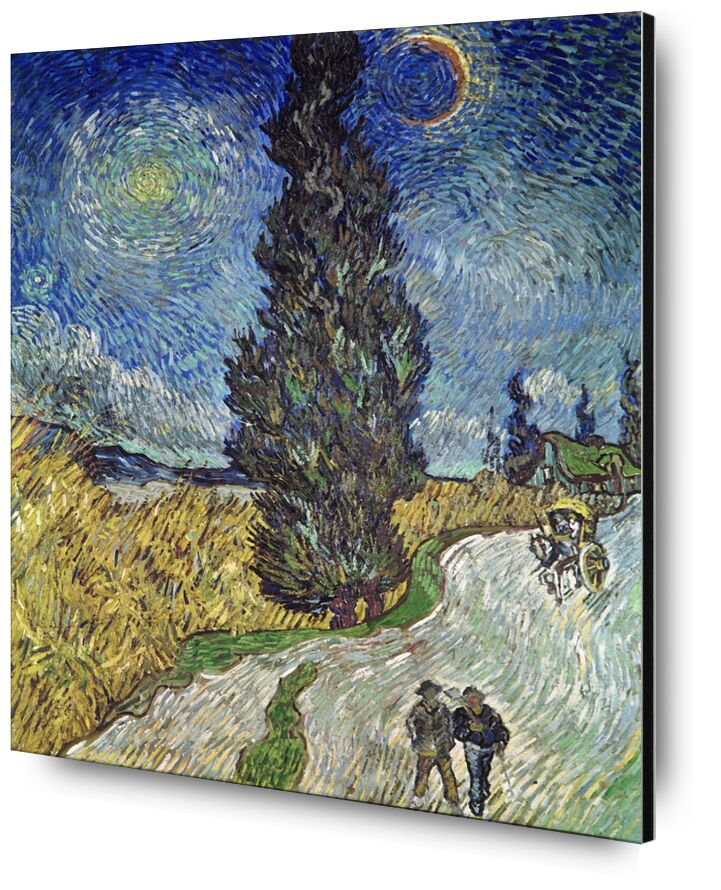Country Road with Cypress and Star - Van Gogh from AUX BEAUX-ARTS, Prodi Art, sky, Sun, star, couple, path, painting, Van gogh