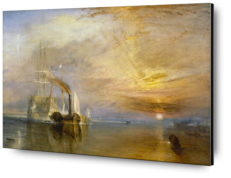 """The """"Fighting Temeraire"""" Tugged to Her Last Berth to be Broken Up - TURNER from AUX BEAUX-ARTS, Prodi Art, TURNER, painting, sailing ship, boat, sea, sky, Sun"""