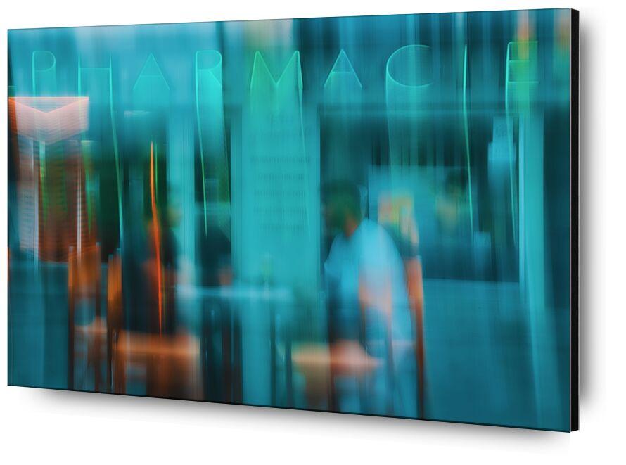 La pharmacie de Céline Pivoine Eyes, Prodi Art, centre ville, vert, terrasse, boutique, art abstrait, Photographie abstraite, Mouvement intentionnel de la caméra, ICM, Devanture, Pharmacie