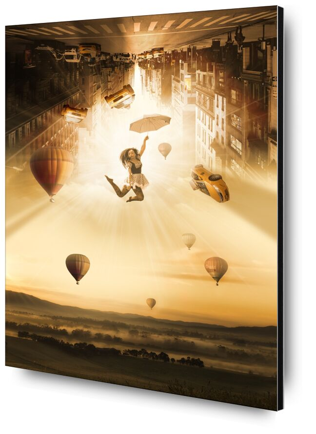 New York in the air from Pierre Gaultier, Prodi Art, hot air balloons, below, skin, traffic, skyscrapers, city, float, umbrella, dazzle, landscape, young, atmosphere, light, personal, modern, art, fantasy, taxi, fall, woman, new york